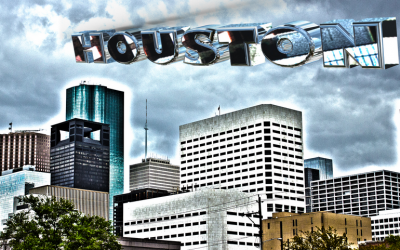 Houston Skyline – HDR Photo – Chrome Text