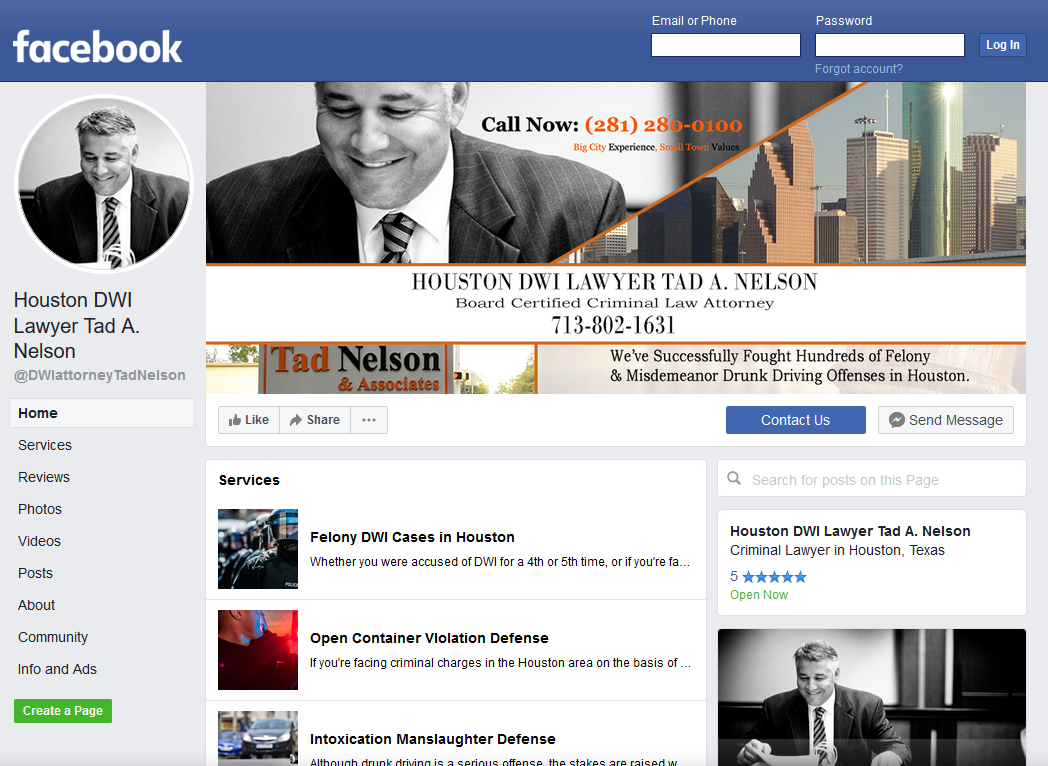 Houston DWI Lawyer Tad A. Nelson's official Facebook page.